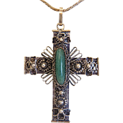 Antique Jade cross pendant, silver 800, 19th century