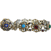 Antique gilt metal bracelet with Enamel,Garnets and glass stones,ca.1900