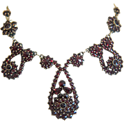 Antique Bohemian Garnet necklace, gilt silver,19th century