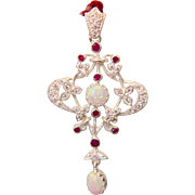 Vintage Opal and Ruby pendant, silver 925, 20th century