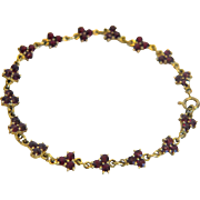 Antique Bohemian Garnet Tennis bracelet, 9k yellow gold,late 19th century
