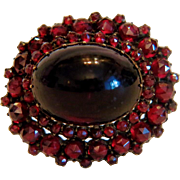Antique Bohemian Garnet brooch, 19th century