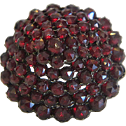 Antique Bohemian Garnet silver brooch, 19th century