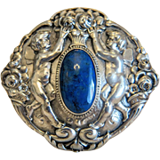 Art Nouveau Turquoise silver brooch, ca. 1910