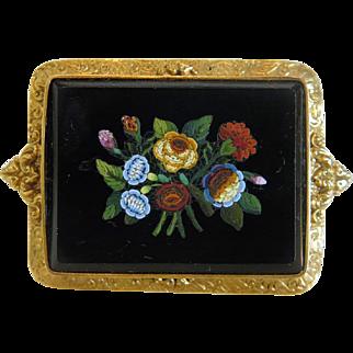 Antique Roman Micro Mosaic brooch, 18 k yellow gold, 19th century