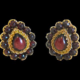 Vintage Garnet earrings, gilt silver, ca.1950