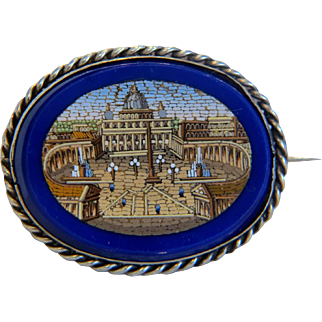 Antique Roman Micro Mosaic silver brooch,19th century