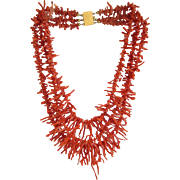 Vintage red Coral branch necklace, three strands, ca.1940