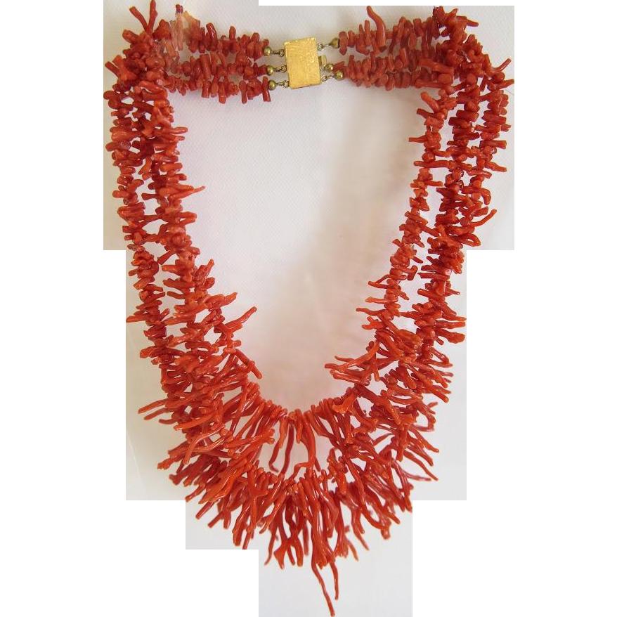 Vintage red Coral branch necklace, three strands, ca.1940
