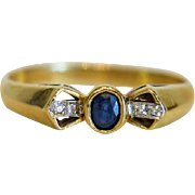 Vintage Sapphire and Diamond ring,18k yellow gold, ca.1960