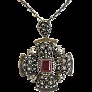 Victorian Sterling Jerusalem cross pendant, 19th century