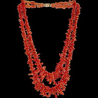 Vintage orange red branch Coral necklace, ca. 1950