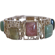 Vintage silver bracelet with colorful  semi precious stones, ca.1950