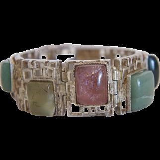 Vintage silver bracelet with colorful  semi precious stones, ca.1950