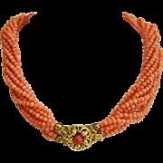 Vintage natural Coral bead necklace, 9 strands,ca. 1950