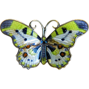 Antique Art Nouveau enamel butterfly brooch, silver 950, ca. 1900