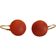Antique orange red Coral earrings, 14k yellow gold,ca.1880