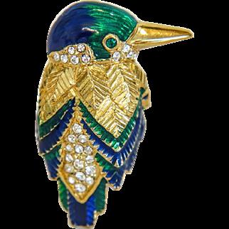 Vintage enamel  Attwood & Sawyer bird brooch, ca. 1980