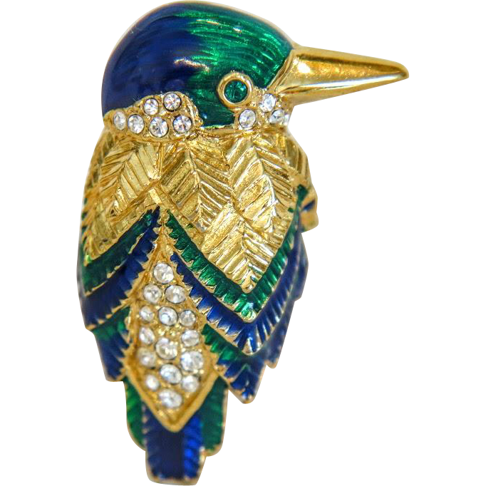 Vintage enamel  Attwood & Sawyer bird brooch, ca. 1980