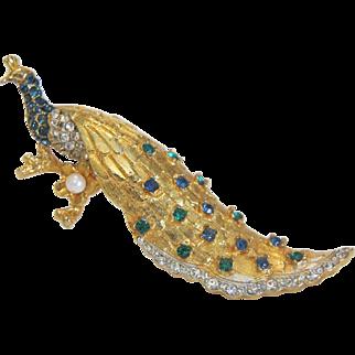 Vintage mutli color peacock Rhinestone   brooch, ca.1960