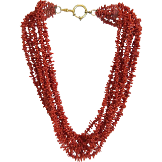 Vintage tomato red branch Coral necklace,ca.1950