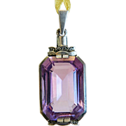Antique Emerald cut Amethyst pendant, silver 800,19th century