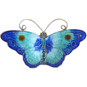 Antique blue Enamel butterfly brooch, silver 800, ca. 1910 - Red Tag Sale Item