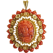 Antique Coral Cameo pendant , 18 k yellow gold, early 19th century