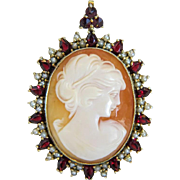 Shell Cameo pendant/brooch  with Garnets and seed pearls, gilt silver , early 20th century