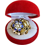 Vintage enamel flower brooch, 14k yellow gold,ca.1940