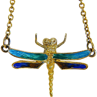 Vintage enamel dragon fly necklace, gilt silver , ca.1960
