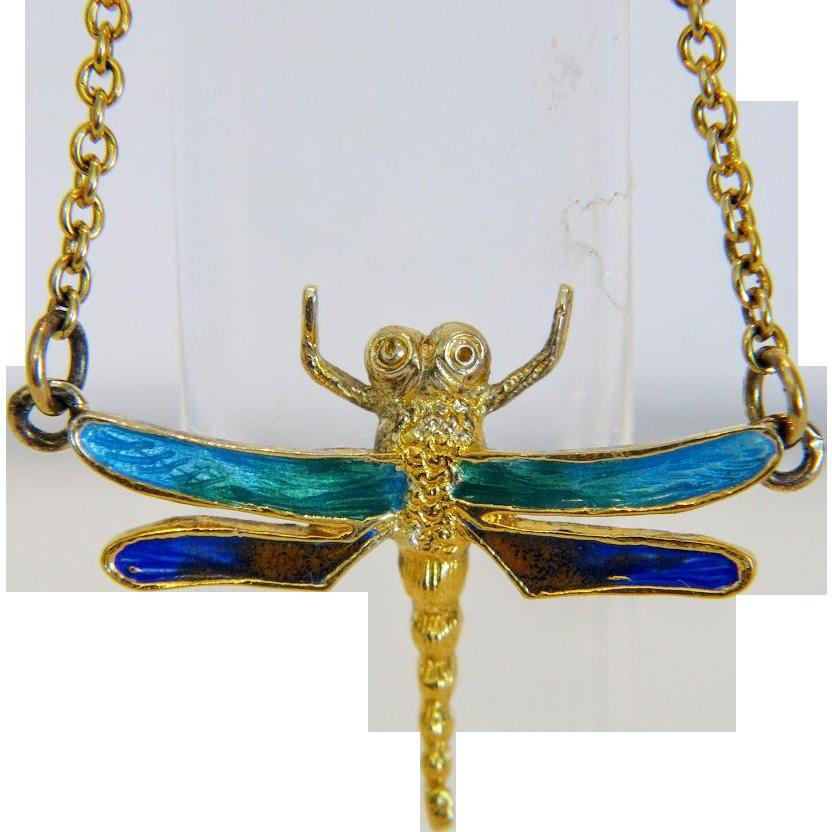 Vintage enamel dragon fly necklace, gilt silver , ca.1960