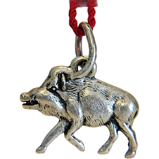 Antique piggy charm pendant , silver 800, 19th century