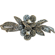 Vintage  flower  brooch  with Marcasites, silver  800, ca. 1930