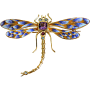 Vintage  Enamel  Dragon Fly brooch/pendant with Amethysts and blue Topaz, gilt silver, ca. 1940