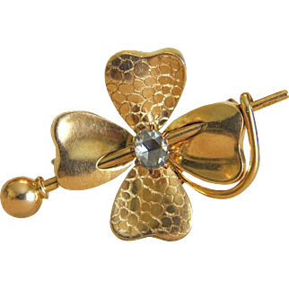 Antique  gold and diamond brooch,  ca.1880
