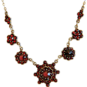 Antique Bohemian Garnet necklace, 9 k yellow gold, 19th century