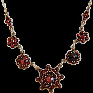 Antique Bohemian Garnet necklace, 9 k yellow gold, 19th century