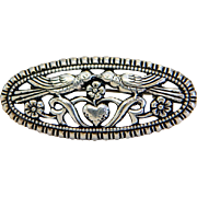 Victorian love birds brooch, silver 800; 19th century