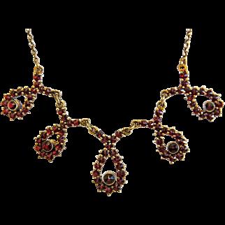 Antique Garnet necklace, gilt silver, 19th century