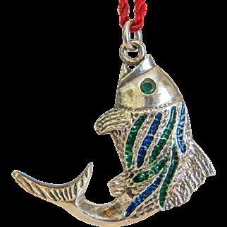 Vintage Enamel silver fish pendant, ca. 1930