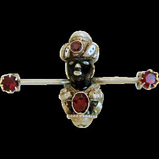 Antique Blackamoor Garnet and enamel brooch, 19th century