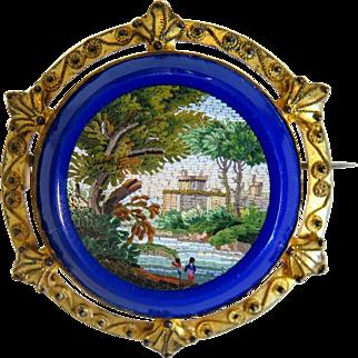 Antique Roman Micro Mosaic brooch, gilt silver, ca.1820