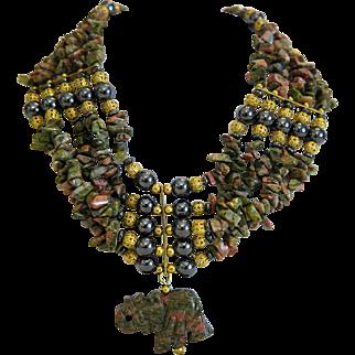 Vintage Unakite and Hematite necklace, ca. 1960