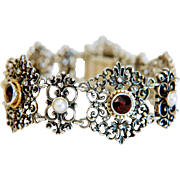 Antique Garnet and cultured pearl bracelet, silver 925, 19th century