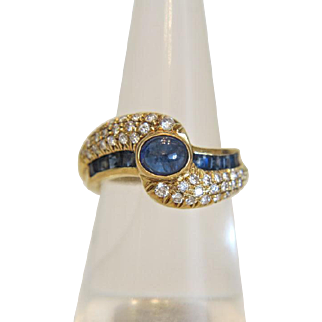 Vintage Diamond and Sapphire twist shank ring, 18 kt yellow gold, ca. 1970