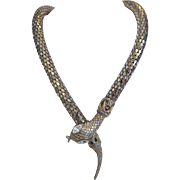 Vintage silver plated snake necklace, ca. 1970
