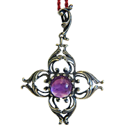 Antique Amethyst and silver pendant, silver 800, 19th century
