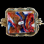 Antique Venetian glass brooch, 19th century