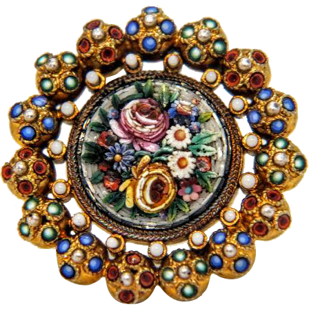 Antique colorful Micro Mosaic brooch, gilt silver, 19th century